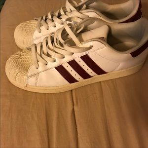 """Adidas """"shell toes """" white with burgundy"""